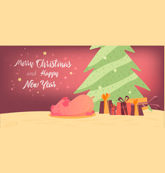 merry christmas card in colorful design vector image