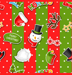 merry christmas seamless pattern with photo booth vector image