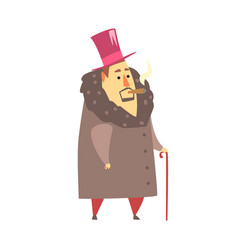millionaire rich man in coat and top hat smoking vector image