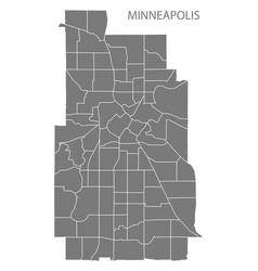 Minneapolis minnesota city map with neighborhoods vector