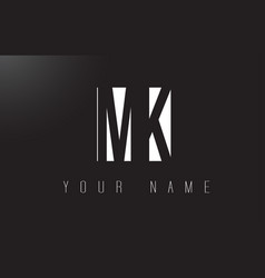 Mk letter logo with black and white negative vector
