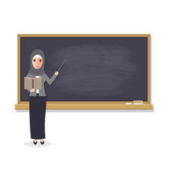 Muslim teacher teaching student in classroom vector