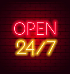neon sign 24 7 on brick wall background vector image