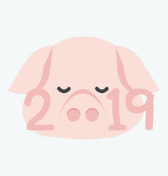 new 2019 year with pig face vector image
