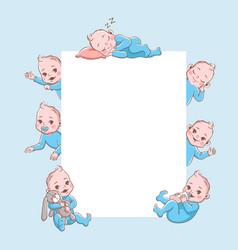 newborn children banner cute cartoon baby frame vector image