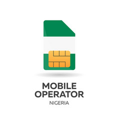 Nigeria mobile operator sim card with flag vector