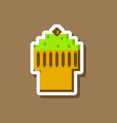 paper sticker on stylish background fruit muffin vector image