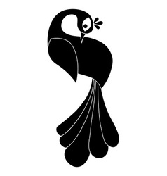 Peacock silhouette Isolated vector