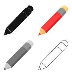 Pencil icon cartoon single education icon from vector