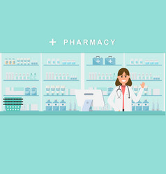 Pharmacy with nurse in counter drugstore cartoon vector