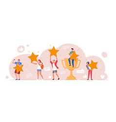 Positive customer feedback five star rating level vector