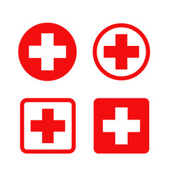 Red cross symbol round and square style vector