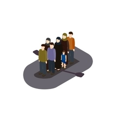 Refugees on boat icon isometric 3d style vector image