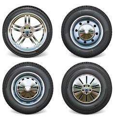 retro and modern car wheels side view vector image