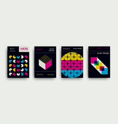 retro cover templates collection swiss set vector image