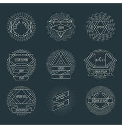 Retro hipster logos and labels with radial vector