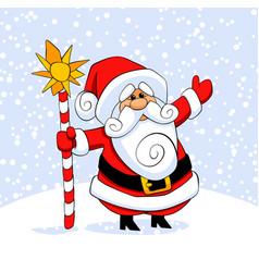 Santa claus carrying sack full gifts vector