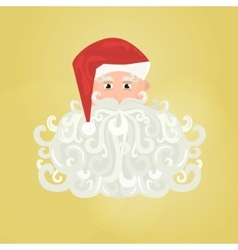 Santa Claus icon with curly beard isolated on vector