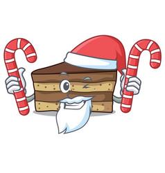 Santa with candy tiramisu mascot cartoon style vector