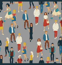 seamless pattern with business people walking vector image
