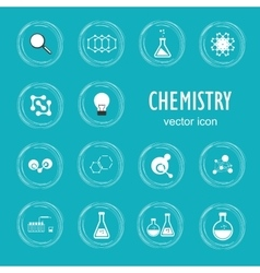 Set icon in chemistry biology medicine vector image