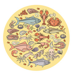 Set of colorful seafood ingredien vector