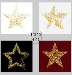 set of gold glitter stars golden sparkle luxury vector image