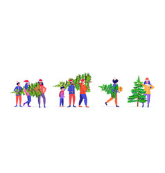 set people carrying freshly cut down christmas vector image