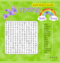 Spring word search puzzle with rainbow and bird vector
