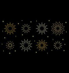 Star shape art deco fireworks burst pattern set vector
