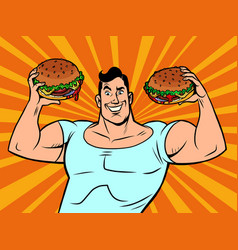 Strong muscular man with burgers vector