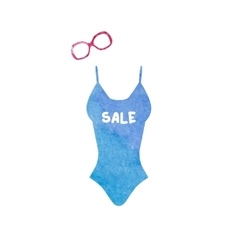 Swimsuit and sunglasses watercolor icons set vector image