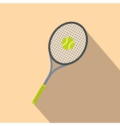 Tennis racquet and ball flat icon vector