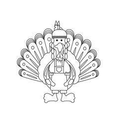 thanksgiving indian turkey vector image