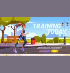 training today cartoon landing page outdoor run vector image