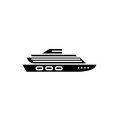 travel cruise ship black icon sign on vector image