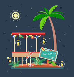 Tropical landscape in the style of flat 2 vector