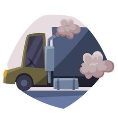 truck emitting dark smoke ecological problem air vector image