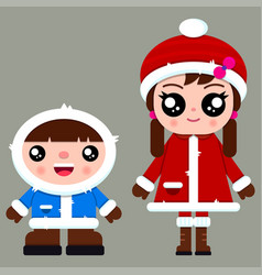 two cute boy and girl in winter vector image