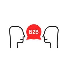 two thin line man like b2b cooperation vector image
