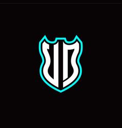 u d initial logo design with shield shape vector image