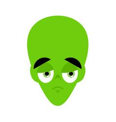 ufo sad emoji green alien face sorrowful emotion vector image