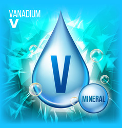 V vanadium mineral blue drop icon vitamin vector