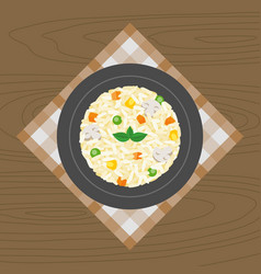 vegetable and mushroom risotto vector image