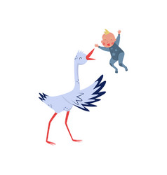 white stork throws baby boy in the air joyful vector image