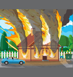 wooden house burns fire in cottage vector image
