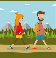 Young couple of hikers with backpacks vector