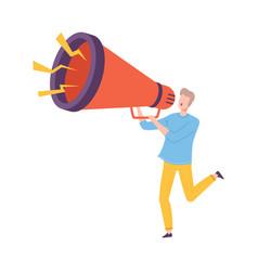 Young man holding huge megaphone making vector