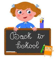 back to school girl vector image vector image