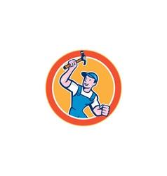 Builder Carpenter Holding Hammer Circle Cartoon vector image vector image